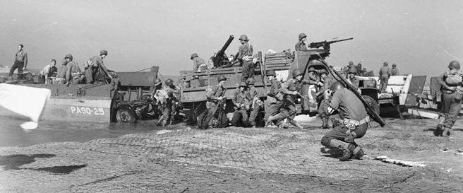 Высадка Союзников на побережье Салерно.