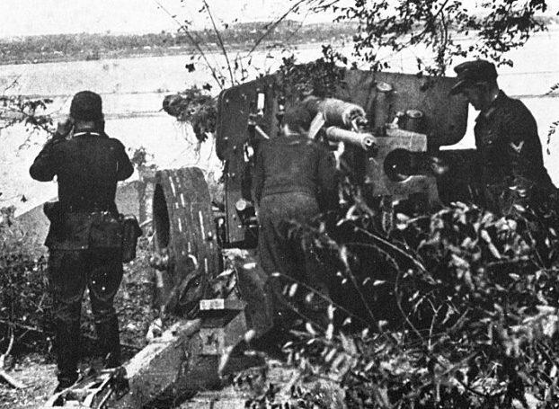 Немецкие позиции на правом, высоком берегу Днепра.