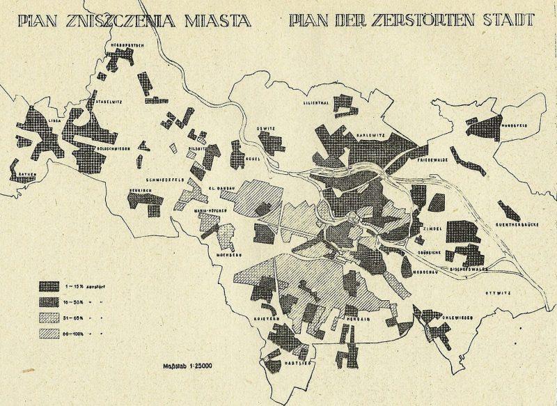 Схема разрушений в городе после его капитуляции.