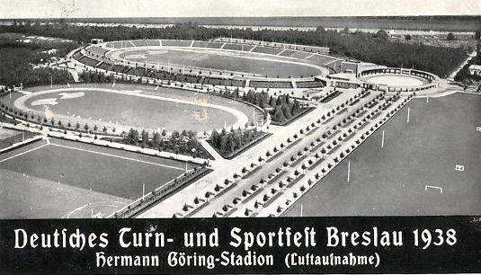 Открытка с изображением всего спортивного комплекса в Бреслау. 1938 г.