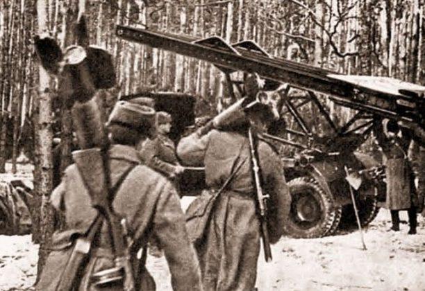 «Катюши» в пригороде. Февраль 1945 г.
