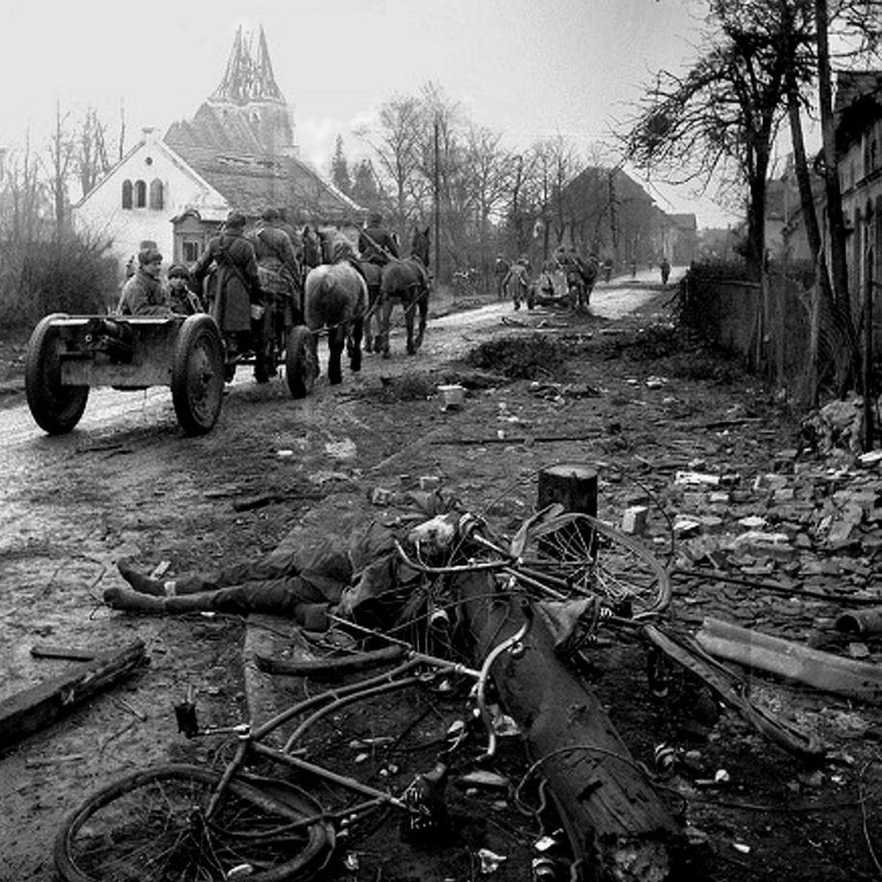 Советские орудия в пригороде Бреслау. Февраль 1945 г.
