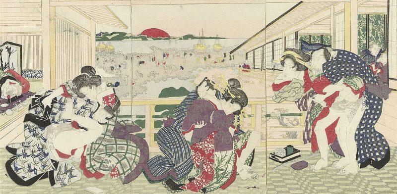 Древние традиции японской культуры. Веранда борделя. Цветная гравюра на дереве. ок. 1840 г.