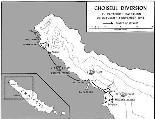 Карта рейда морской пехоты США на Шуазель.