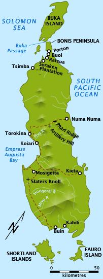 Карта бухты Императрицы Августы на западном побережье Бугенвиля.