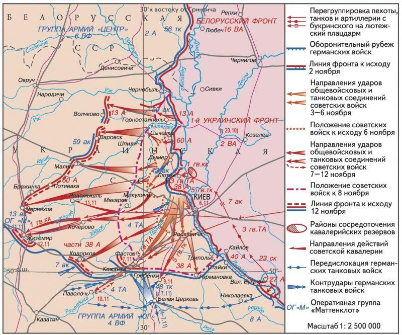 Карта-схема Киевской наступательной операции.