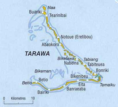 Карта атолла Тарава.