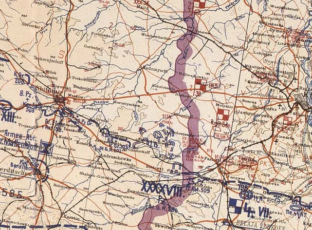 Положение сторон в начале немецкого контрнаступления. 15 ноября 1943 год.