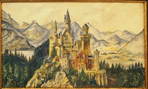 Картина А. Гитлера Изображение замка Нойшванштайн.