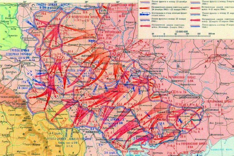 Карта-схема боевых действий в декабре 1943 –мае 1944 г.