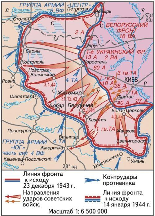 Карта-схема Житомирско-Бердичевской операции.