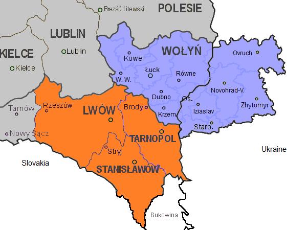 Карта Волыни и Восточной Галиции на 1939 г.