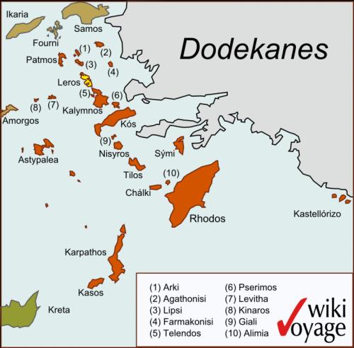 Остров Лерос на карте.