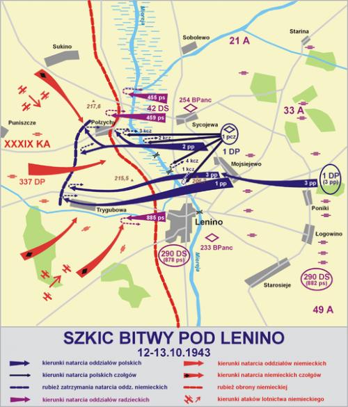 Карта-схема боя под Ленино.