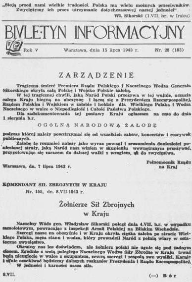 Номер «Biuletyn Informacyjny» от 15 июля 1943 года, который содержит сообщение о смерти Владислава Сикорского и объявление национального дня траура.