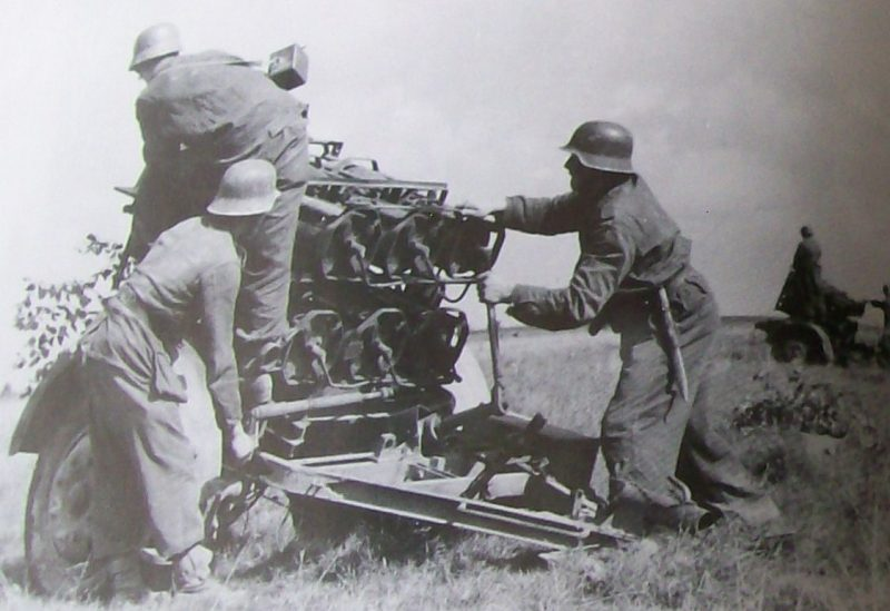 Немецкий реактивный миномет на позициях в районе реки Десна.
