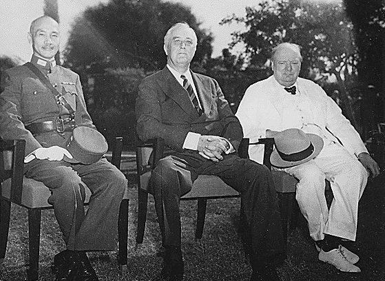 Чан Кайши, Ф.Д. Рузвельт, У. Черчилль. Каир 25 ноября 1943 г.