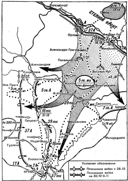 Карта-схема боевых действий на Криворожском направлении.