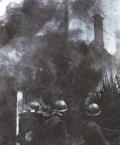 Японские войска сжигают Шанхай. Февраль 1932 г.