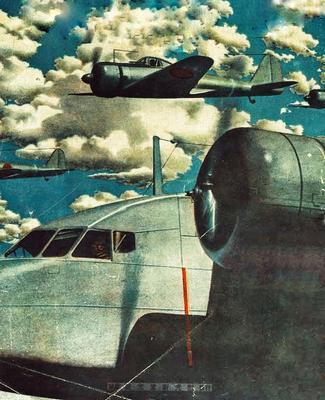 Истребитель, сопровождающий транспортный самолет «Каваниси». Новая Гвинея, 1942 г.
