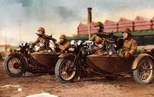 Японские армейские мотоциклы. Шанхай, 1932 г.