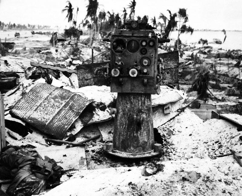 Разрушенная японская зенитная позиция.