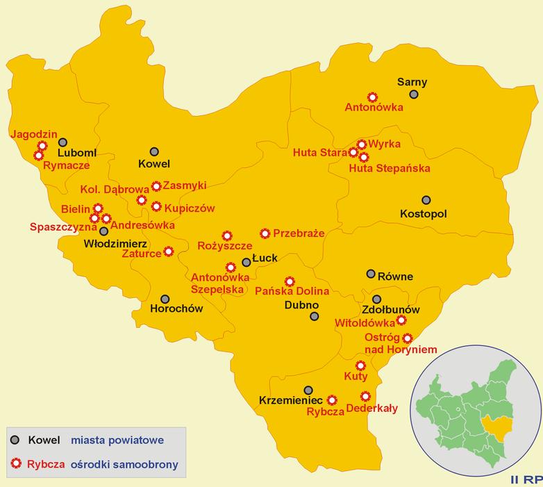 Центры самообороны на Волыни в 1943 году.
