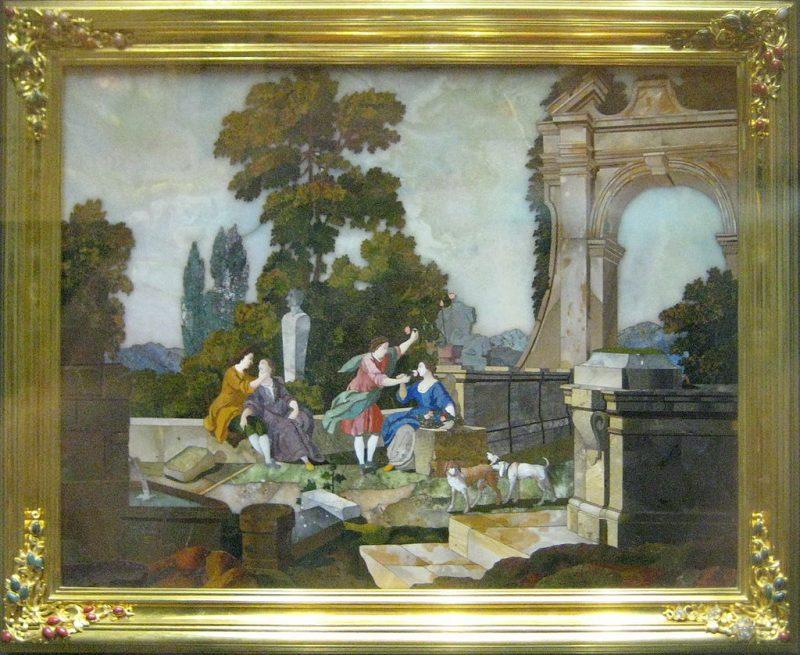 Мозаичная картина «Осязание и Обоняние» из панелей Янтарной комнаты.