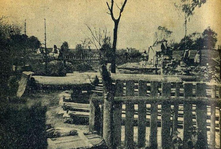 Сожженные поляками дома в селе Губинок. Апрель 1944 г.