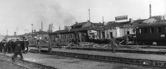 Санитарный поезд на станции Знаменка. Октябрь 1943 г.