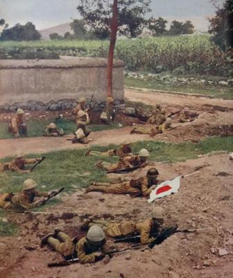 Японская пехота в китайской деревне под Шанхаем. 1937 г.