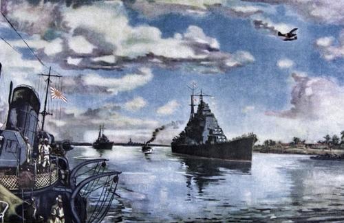 Флагман вице-адмирала Микава Гуничи крейсер «Чокайин». Рабаул, август 1942 г.