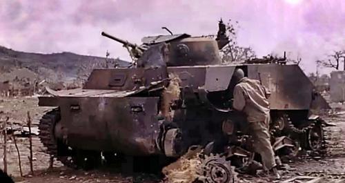 Танк-амфибия военно-морского десанта «Йокосука», уничтоженного в Сайпане. Июнь 1944 г.