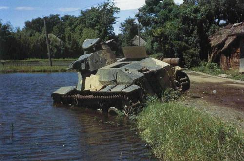 Уничтоженный японский легкий танк. Сайпан, 1944 г.