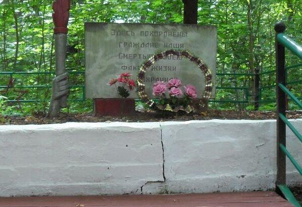 д. Озерище Дорогобужского р-на. Братская могила советских граждан, расстрелянных оккупантами.