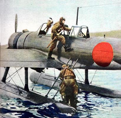 Самолет истребитель-бомбардировщик Nakajima A6M2-N в Баликпапане. Голландская Ост-Индия, 1942 г.