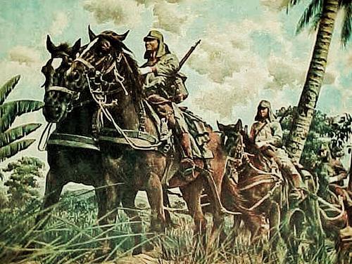 Офицеры японской армии на лошадях. Сингапур 1942 г.