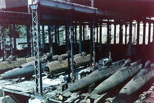 Малые подводные лодки японского типа «Корю» в Нагасаки. Сентябрь 1945 г.