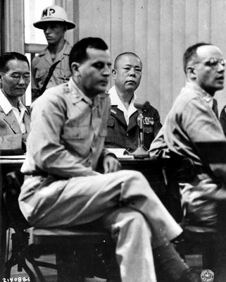 Японский генерал Томоюки Ямашита в зале суда в Маниле. 1946 г.