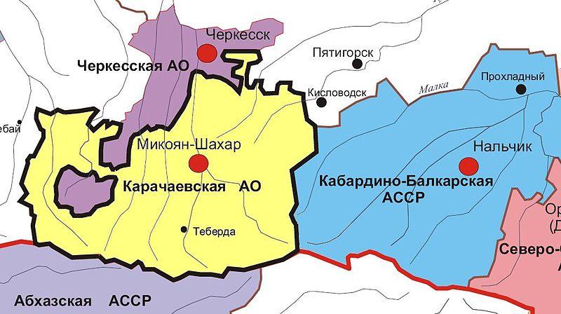Карта Кабардино-Балкарской АССР в 1936-1938 гг.