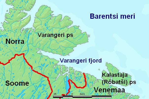 Варангер-фьорда на карте.