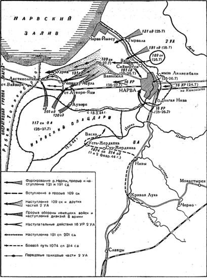 Карта-схема Нарвской операции.