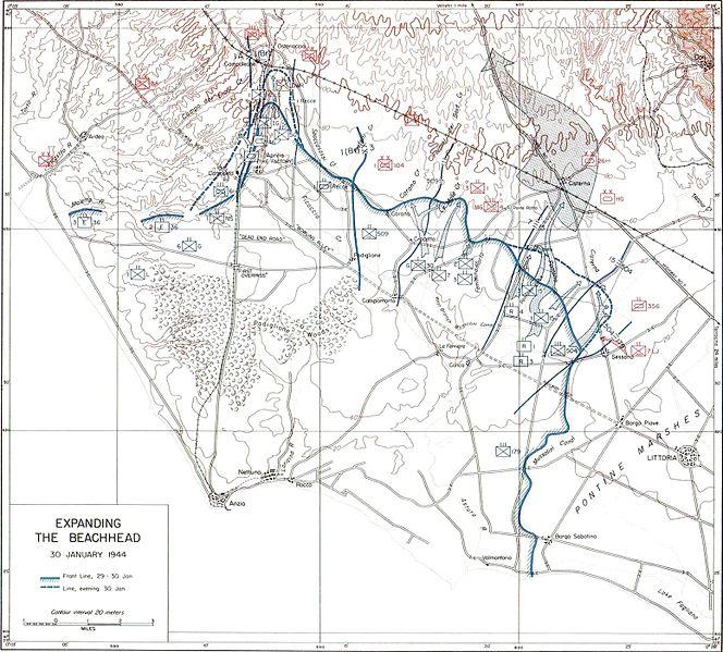 План наступления Союзников и расположение войск в Цистерне 30 января 1944 года.