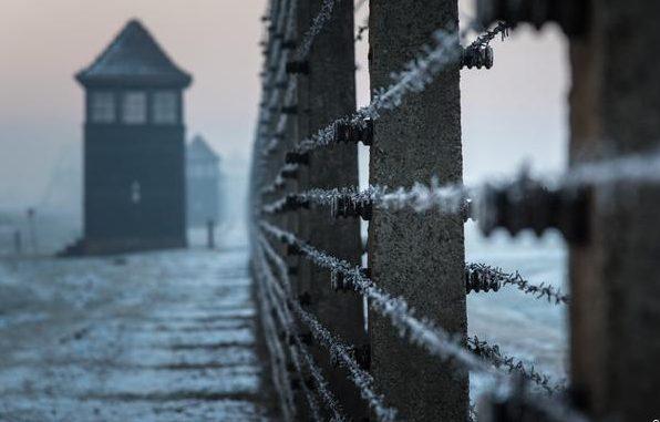 Музей на месте концлагеря Освенцим: колючая проволока и сторожевая вышка.