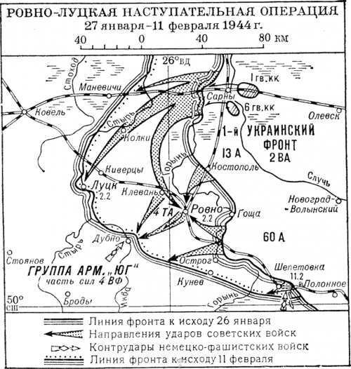 Карта-схема Ровно-Луцкой операции.