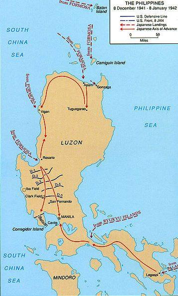 Карта-схема вторжение японских войск на Филиппины.