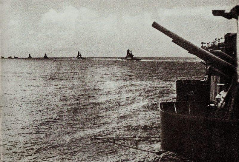 Императорский флот Японии в рейде в Индийском океане.