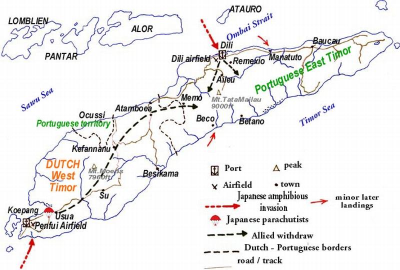 Карта -схема битвы за Тимор.