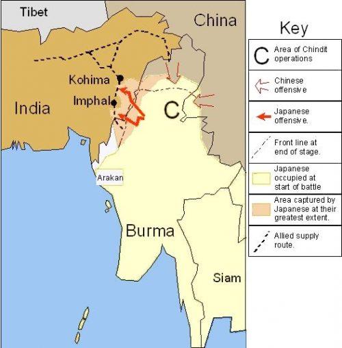 Карта-схема наступления японских войск.