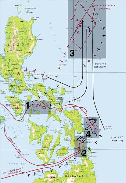 Карта-схема Сражение в заливе Лейте, где 1 - бой в море Сибуян; 2 – бой в проливе Суригао; 3 - бой у мыса Энганьо; 4 – бой у острова Самар.